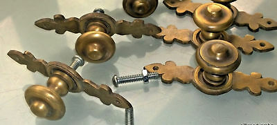 """6 pulls handle solid brass door vintage old style knobs kitchen heavy 3"""" aged B 5"""