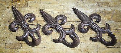 36 Cast Iron Antique Style Rustic Fleur De Lis Coat Hooks Hat Hook Rack Towel #6