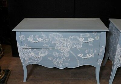 Pair French Painted Commodes Chest Drawers Shabby Farmhouse 3