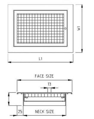 Hinged Eggcrate Grille With Filter  FACE:950 x 600mm, Neck 900 x  550 2