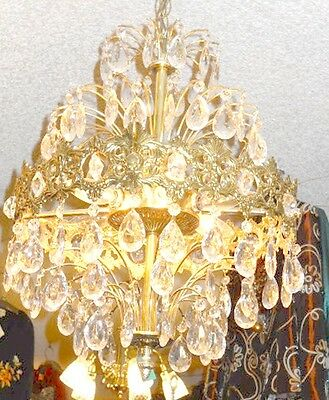 Antique European Coronal Brass and Crystal 6 Bulb Chandelier w/ 2 Types Prisms 5