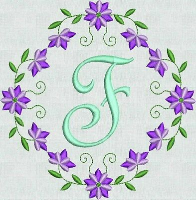 Machine Embroidery Fonts Designs Floral Fancy Frame Brother Bernina