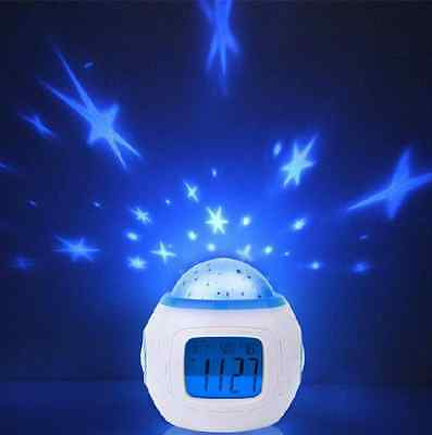 New Music Star Sky Projection Calendar Thermometer Digital Alarm Clock 3