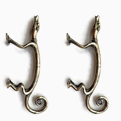 "2 GECKO HOUND solid brass door dog vintage old style house PULLS handle 9"" knobB 3"