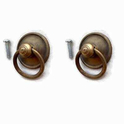 "4 tiny round RINGS small knob pulls handles 1.1/2""old style drops knobs 3.8cm  B 3"