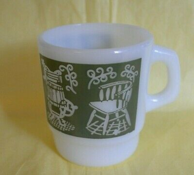 VINTAGE Fire King Mug Colored Pattern , Milk Glass With Bike Stove Washing chair 9