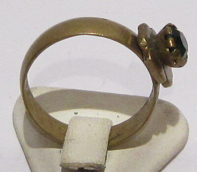 VINTAGE NICE BRONZE RING WITH GREEN STONE FROM THE EARLY 20th CENTURY # 1B 4
