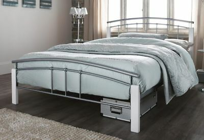 Tetras Silver Metal Bed Frame Modern White Wooden Single Double King Size 2