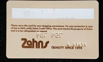 Zahns Charge Card ♡Free Shipping♡ cc54 2