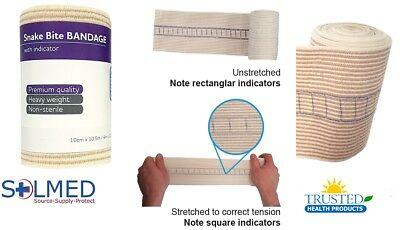 2 X Snake Bite Bandage With Compression Indicator 10Cm Width X 4.5M Stretched 3