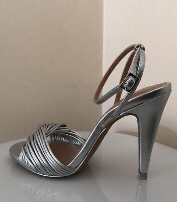 uk availability official shop exclusive range ZARA WOMEN SILVER MULTI STRAP WOVEN HIGH HEEL SANDALS Sz. 6 BNWT ...