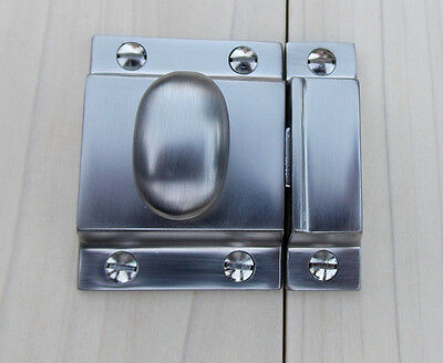 Reproduction Large Solid Brass Cabinet Latch ( Brushed Nickel) 2