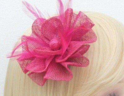 Fuchsia Pink Fascinator Brooch Clip Hair Feather Flower Wedding Ladies Day Races 12