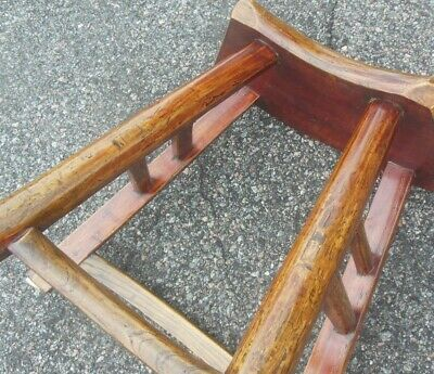Antique Chinese Chestnut Bench Table Chair 18-19th C. Curved Seat 10