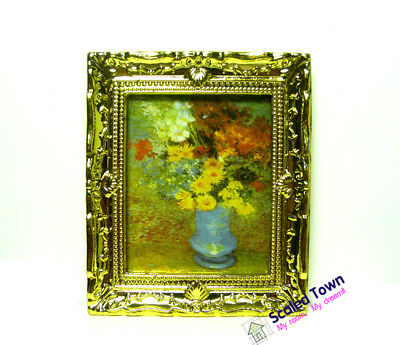1:12Doll House Miniature Gold Frame Art Wall Picture Autumn Painting Scener D0Q1