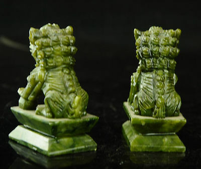 China  Rare A pair of 100%  natural green jade hand-carved statues fo dog lion 4