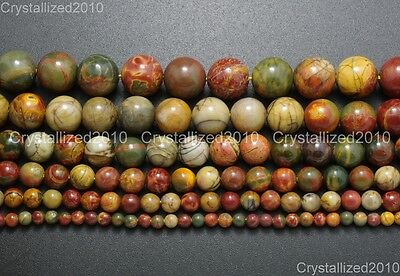 "Natural Picasso Jasper Gemstone Round Loose Beads 4mm 6mm 8mm 10mm 12mm 14mm 16"" 2"