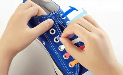 Elastic Silicone Shoelaces Shoe Lace Easy No Tie Kids Adult Lazy Trainers Rubber 2