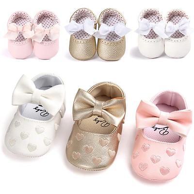 UK Newborn Toddler Baby Girl Bowknot Anti-slip Soft Christening Shoes Sneaker AB 4