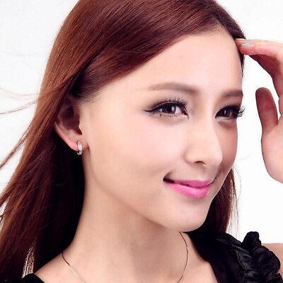 Women Silver Round Crystal Heart Hoop Ear Stud Earrings Wedding Bridal Jewelry 6