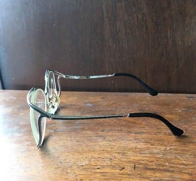 Vintage 1980s Eyeglass Glasses Frames Silver Tone Black Chaser