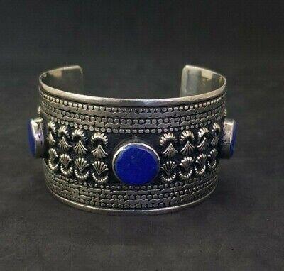 Wonderful Silver plated Afgani Adjustable Beautiful Bangle With Lapis Stone #W12 2