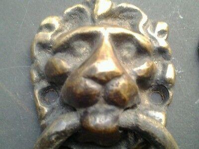 "2 vintage Lion Head Ring Pulls Handles Door Knockers 3""tall #H12"