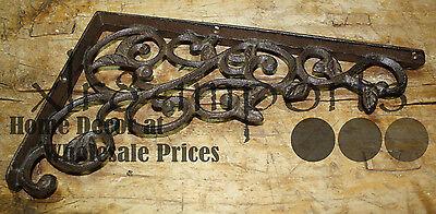 2 Cast Iron Antique Style LEAVES & VINE Brackets, Garden Braces Shelf Bracket 3