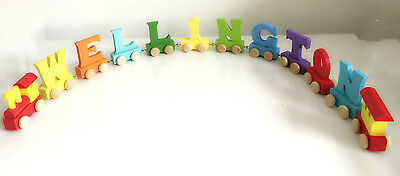 Baby Christening Gifts Wooden Colour train letters for Personalised name train 11