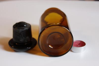Apothekerflasche, Form selten, rund, alt, FERR. LACTIC. SCHLIFF STOPFEN
