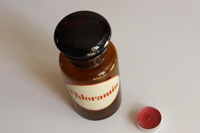 Apothekerflasche, Form selten, rund, alt, CHLORAMIN SCHLIFF STOPFEN breite 3