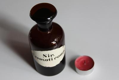 Apothekerflasche, Form selten, rund, alt, SIR. CREOSOTI COMP. SCHLIFF STOPFEN