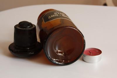 Apothekerflasche, Form selten, rund, alt, HYDR. AMID. - BICHL. SCHLIFF STOPFEN