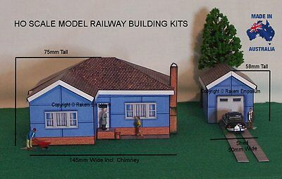HO Scale 1950's Fibro House with Shed/Garage, Model Railway Building Kit