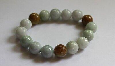 Gemstone 100% Natural JADE (Grade A) Untreated Jadeite Beaded Bracelet 13mm 5