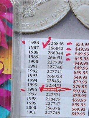 1996 Silver American Eagle BU 1 oz Coin US $1 Dollar Uncirculated Key Date *096 2