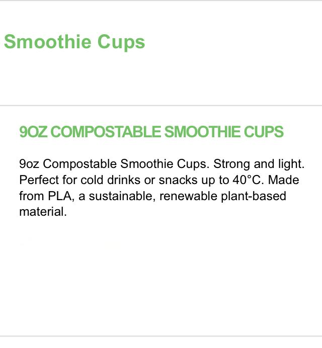 * 9oz Compostable Biodegradable Smoothie-Milkshake-sweets Cups & Lids BIO750/D/E 4
