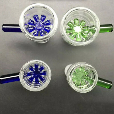 14mm or 18mm Male Glass Slide Bowl Thick Snowflake Honeycomb Star Green Or Blue 7