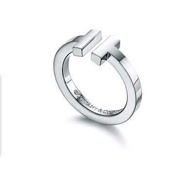 Tiffany&Co T Square Ring In 18K White Gold 7
