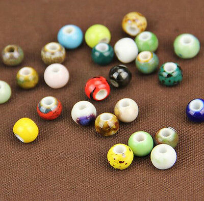 10pcs Charm Round Ceramic Porcelain Loose Spacer Big Hole Beads DIY 27 Pattern