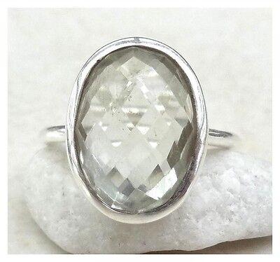 925 Sterling Silver GREEN AMETHYST Semi Precious Gemstone RING SIZE N 1/2 - US 7