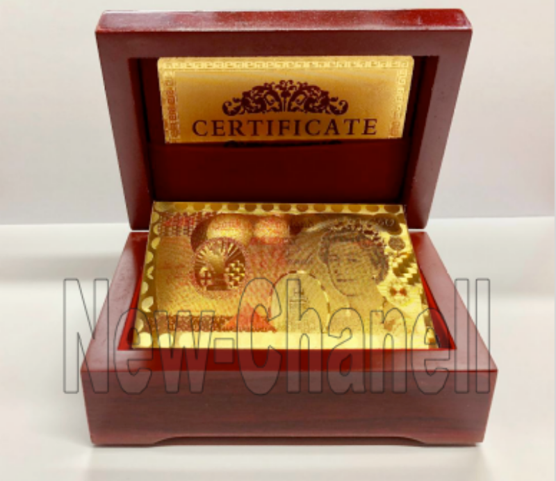 24K Gold Plated Playing Cards Poker Game Deck Wooden Gift Box 99.9% Certificate 2