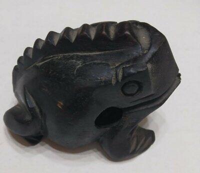 """Vintage Hand Carved Frog Dark Black Wooden Wood Statue Decor Figurine Figure 4"""" 7"""