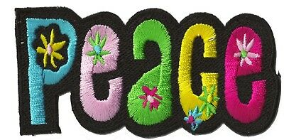 Ecusson patche patch PEACE hippy couleur Paix signe thermocollant badge 2
