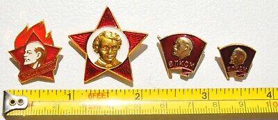 4pcs. RUSSIAN SOVIET USSR PIONEER VLKSM PIN MEDAL ORDER RED STAR AWARD BADGE WAR 2