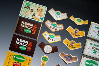 30 x verschiedene Etiketten WICKÜLER BIER + ANDERE um 1955-1968 2