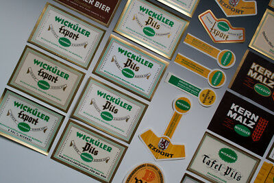 32 x verschiedene Etiketten WICKÜLER BIER um 1955-1968 4