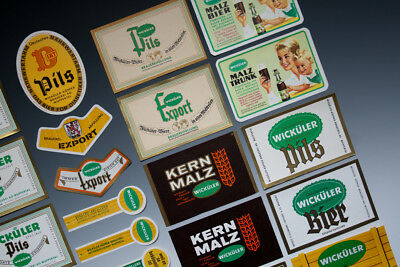 32 x verschiedene Etiketten WICKÜLER BIER um 1955-1968 3