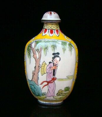 Collection 100% Handmade Painting Brass Cloisonne Snuff Bottles People 021 3