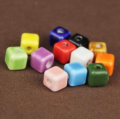 5Pcs Porcelain Colorful Faceted Square Cube Ceramic Loose Bead DIY Craft Makings